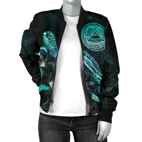 American Samoa Polynesian Women's Bomber Jacket - Turtle With Blooming Hibiscus Turquoise