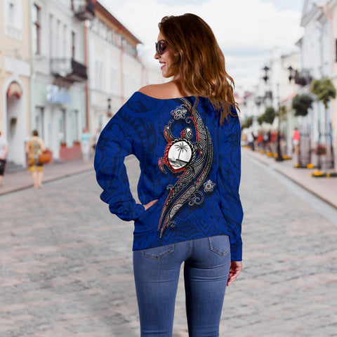 Guam Women's Off Shoulder Sweater - Turtle Waving - BN39