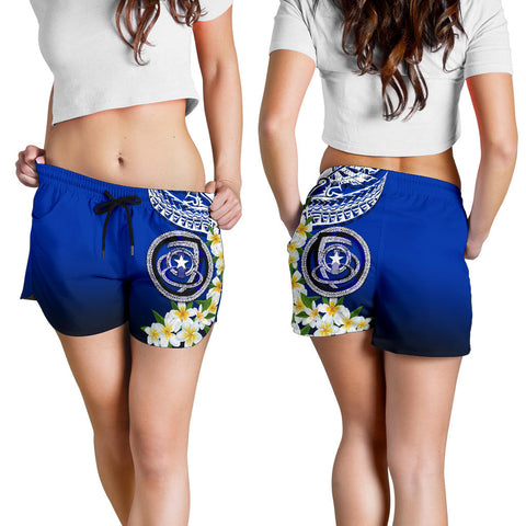 Northern Mariana Islands All Over Print Women's Shorts - Polynesian Plumeria Pattern