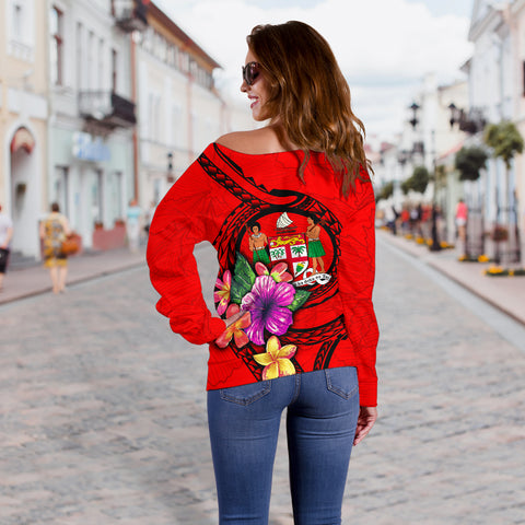 Fiji Polynesian Custom Personalised Women's Off Shoulder Sweater - Floral With Seal Red - BN12