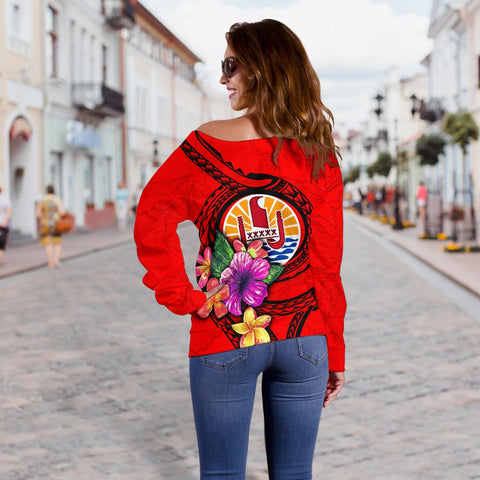 Image of Tahiti Polynesian Custom Personalised Women's Off Shoulder Sweater - Floral With Seal Red - BN12
