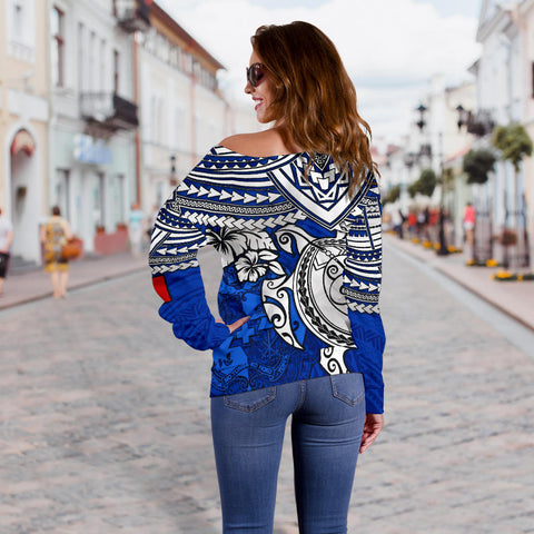 Image of Tonga Polynesian Women's Off Shoulder Sweater - Blue Turtle