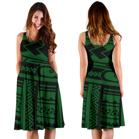 Polynesian Tribal Women's Dress - Green Version - BN12
