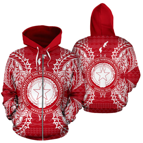 Northern Mariana Islands Polynesian All Over Zip Up Hoodie Map Red White - BN39