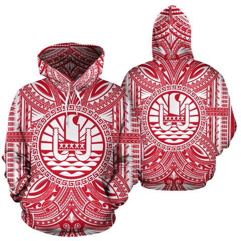 Image of Tahiti All Over Hoodie - Tahiti Coat Of Arms Polynesian Flag Color