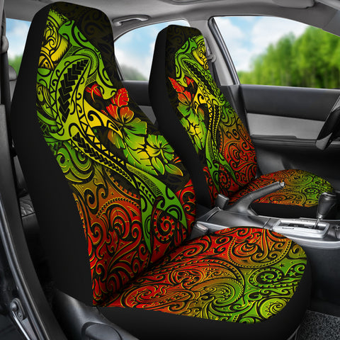 Hawaii Car Seat Cover - Polynesian Hammerhead Shark Hibiscus