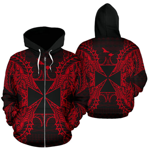 Image of Wallis And Futuna Polynesian All Over Zip Up Hoodie Map Red - BN39