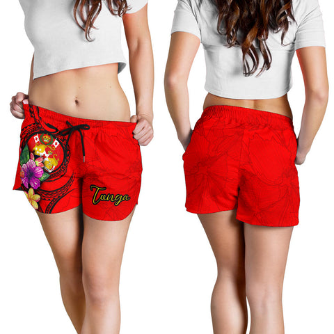 Tonga Polynesian Women's Shorts - Floral With Seal Red