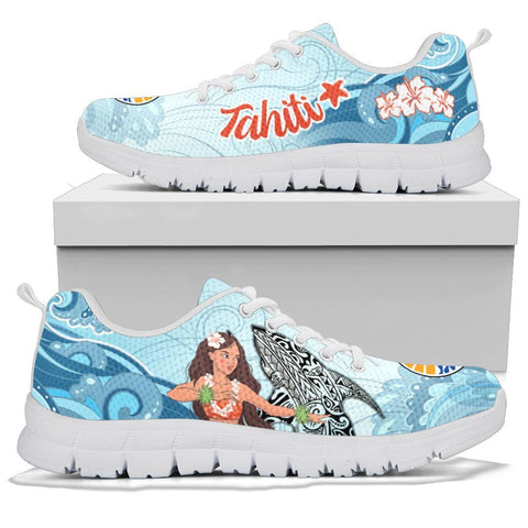 French Polynesia Sneakers, Polynesian Girls With Shark sneakers