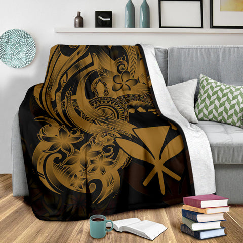 Polynesian Hawaii All Over Premium Blanket - Kanaka Maoli Gold Turtle - BN12