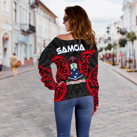 Samoa Polynesian Women's Off Shoulder Sweater - Samoan Spirit - BN12