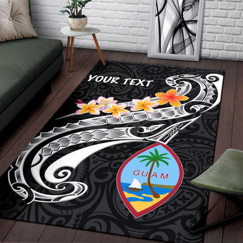 Guam Personalised Area Rug - Guam Seal Polynesian Patterns Plumeria (Black)