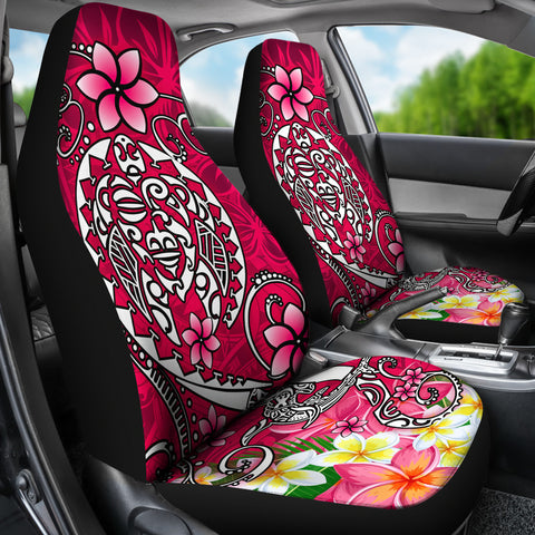 Polynesian Car Seat Covers - Turtle Plumeria Pink Color - BN18