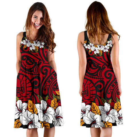 Tahiti Midi Dress - Red Hibiscus - BN11