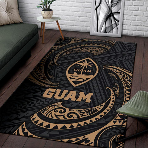 Guam Polynesian Area Rug - Gold Tribal Wave - BN12