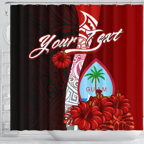 Image of Guam Polynesian Custom Personalised Shower Curtain - Coat Of Arm With Hibiscus - BN12