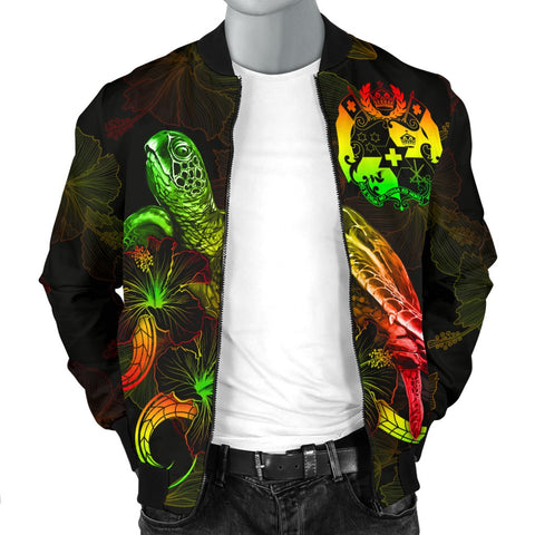 Tonga Polynesian Men's Bomber Jacket - Turtle With Blooming Hibiscus Reggae