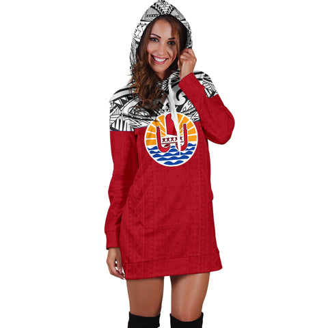 Tahiti Women's Hoodie Dress - Polynesian Design - BN09