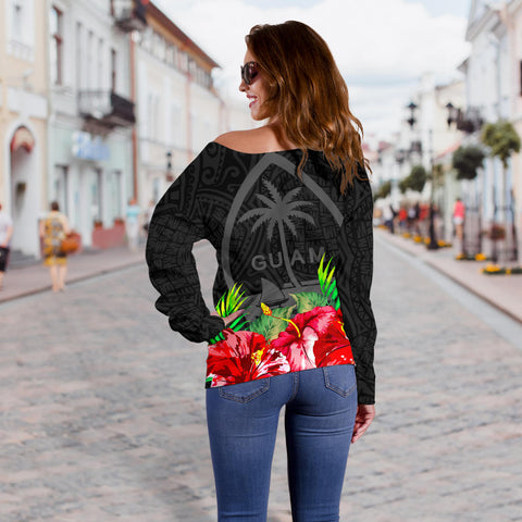 Guam Polynesian Women's Off Shoulder Sweater Black Hibiscus - BN39