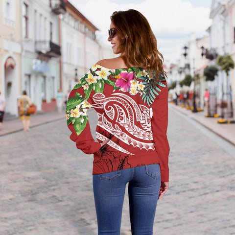 Tahiti Polynesian Women's Off Shoulder Sweater - Summer Plumeria (Red) - BN15