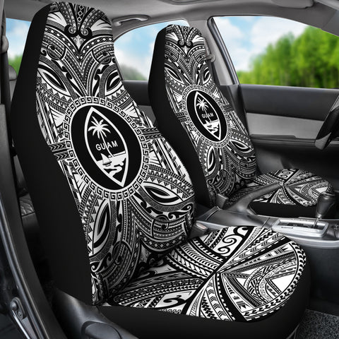 Image of Guam Car Seat Cover - Guam Coat Of Arms Polynesian White Black Bn10