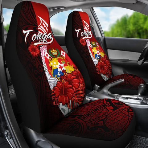 Tonga Polynesian Car Seat Covers - Coat Of Arm With Hibiscus - BN12