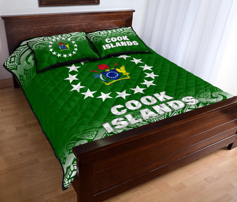 Cook Islands Polynesian Quilt Bed Set - Fog Green Style - BN12