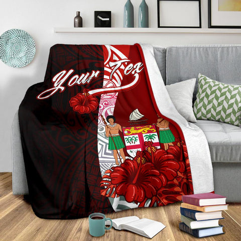 Image of Fiji Polynesian Custom Personalised Premium Blanket - Coat Of Arm With Hibiscus - BN12