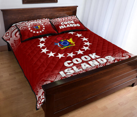 Cook Islands Quilt Bed Set - Fog Style - Polynesian Red -  BN12