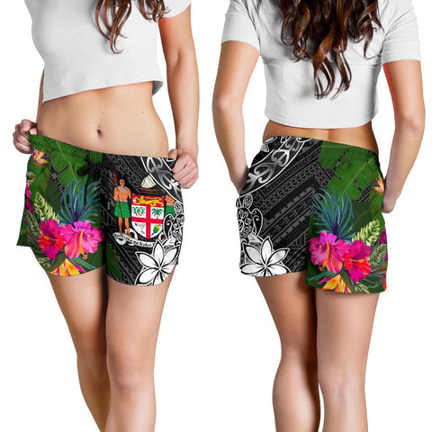 Image of Fiji Women Shorts - Turtle Plumeria Banana Leaf Crest - BN11