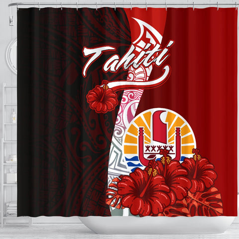 Tahiti Polynesian Shower Curtain - Coat Of Arm With Hibiscus - BN12