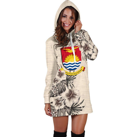 Kiribati Hoodie Dress - The Beige Hibiscus A7