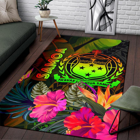 Image of Samoa Polynesian Area Rug -  Hibiscus and Banana Leaves