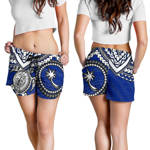 Chuuk Polynesian Short (Women)  - White Turtle (Blue) - BN1518