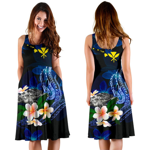 Polynesian Hawaii Midi Dress - Turtle With Plumeria Flowers - BN12
