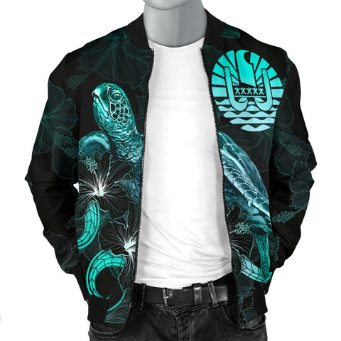 Image of Tahiti Polynesian Men's Bomber Jacket - Turtle With Blooming Hibiscus Turquoise