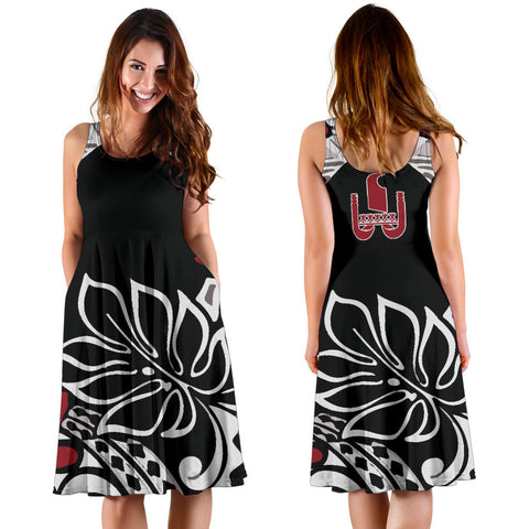 French Polynesia Midi Dress - Hibiscus Palm Leave - BN09