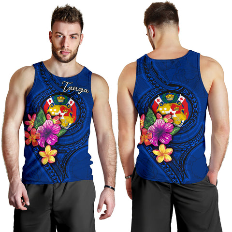 Image of Tonga Polynesian Men's Tank Top - Floral With Seal Blue - BN12