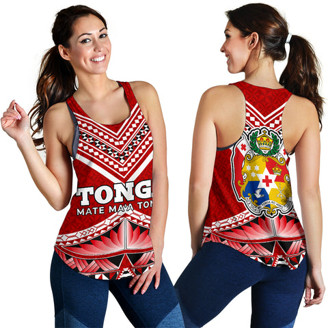 Image of Mate Ma'a Tonga Pattern Women's Racerback Tank - BN12
