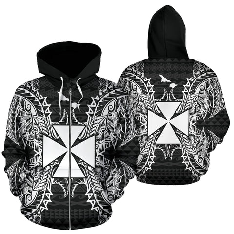 Image of Wallis And Futuna Polynesian All Over Zip Up Hoodie Map Black - BN39