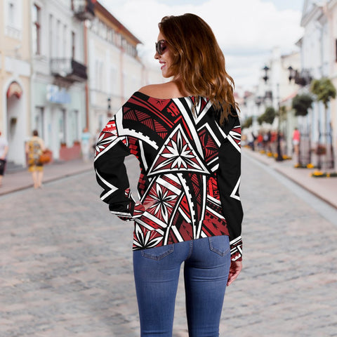 Tahiti Women's Off Shoulder Sweater - Tribal Flower Special Pattern Red Color - BN20