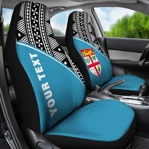 Image of Fiji Tapa Custom Personalised Car Seat Covers - Blue Curve