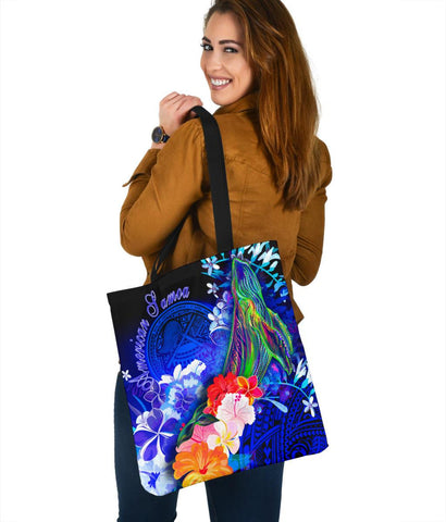 American Samoa Polynesian Tote Bags - Humpback Whale with Tropical Flowers (Blue)