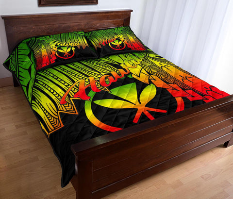 Polynesian Hawaii Quilt Bed Set - Tribal Wave Tattoo Reggae - BN12