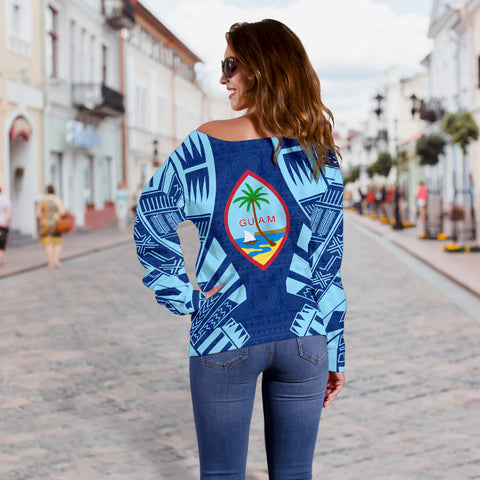 Image of Guam Women's Off Shoulder Sweater - Polynesian Tattoo Flag - BN0110