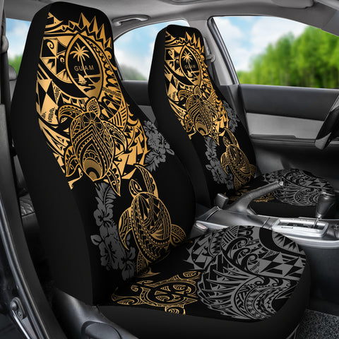 Guam Polynesian Car Seat Covers - Gold Turtle Flowing