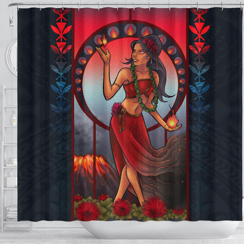 Polynesian Hawaii Shower Curtain - Pele Hawaiian Girl - BN04