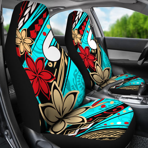 Polynesian Car Seat Covers - Tribal Flower With Special Turtles Blue Color - BN20