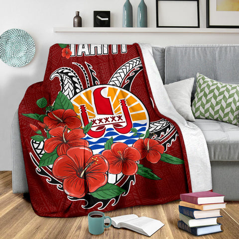 Tahiti Polynesian Premium Blanket - Hibiscus Coat of Arm Red