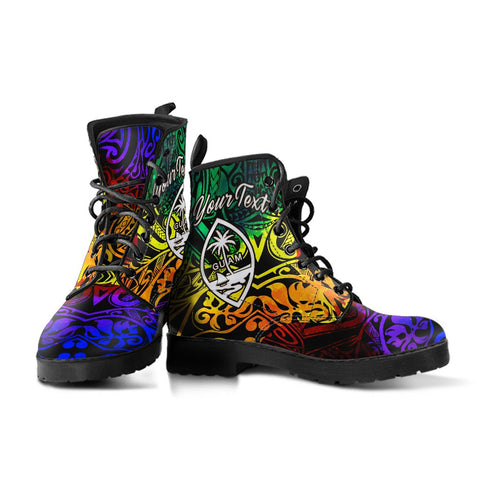 Image of Guam Custom Personalised Leather Boots - Rainbow Polynesian Pattern - BN11